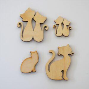 Fa figurák – cicák