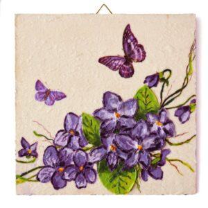 Domborműves kép Paverpol technikával - Lila virágok 2.