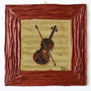 Domborműves kép Paverpol technikával - Zene sorozat - A hegedű