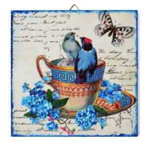 Domborműves kép Paverpol technikával - Porcelán madáritató