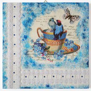Domborműves kép Paverpol technikával - Kék madarak