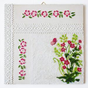Domborműves kép Paverpol technikával - Szalagos sorozat - Rózsaszín virágok