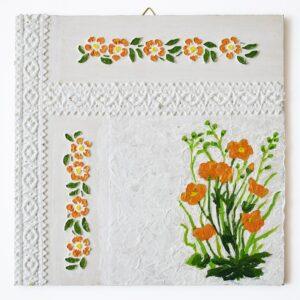 Domborműves kép Paverpol technikával - Szalagos sorozat - Narancssárga virágok