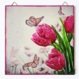 Domborműves kép Paverpol technikával - Tulipánok