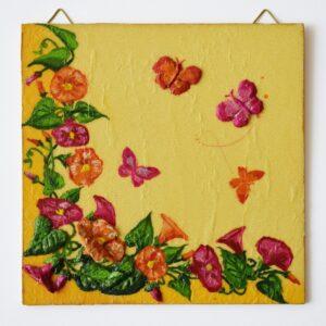 Domborműves kép Paverpol technikával - Virágok és pillangók
