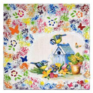 Domborműves kép Paverpol technikával - Picinke cinkék