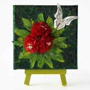 Domborműves kép Paverpol technikával - Pillangó piros virágokon