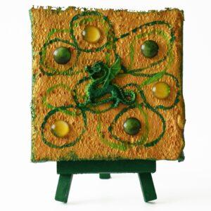 Domborműves kép Paverpol technikával - Zöld sárkány